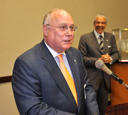 Irving M. Blank, president of the Virginia State Bar, was the keynote speaker at the LSC Board of Directors' reception in Richmond, Va., on April 14. LSC Board Member Robert J. Grey Jr., a partner in the Richmond office of Hunton & Williams, is in the background. Photos by Joe Mahoney.