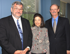 LSC President Helaine M. Barnett stands with Legal Aid of the Bluegrass Executive Director Richard A. Cullison, left, and James R. Kruer, Chairman of the program's Board of Directors.
