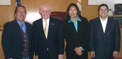 Left to right: Levon Henry, Michael B. Mukasey, Diane J. Humetewa, Zackeree Kelin.