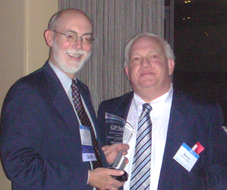 Harvey Strauss, right, receives the Difference Makers Award from Robert A. Zupkus, Chair Elect of the ABA GP|Solo Division. Picture courtesy General Practice, Solo & Small Firm Division of the American Bar Association.