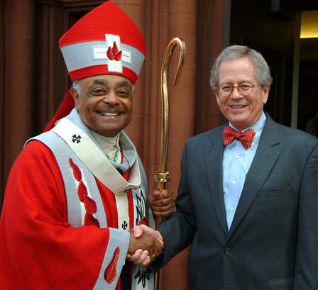 LSC Board Chairman Frank B. Strickland (right) shakes hands with Archbishop Wilton D. Gregory, head of Atlanta's archdiocese, following Red Mass. Picture courtesy St. Thomas More Society of Atlanta.