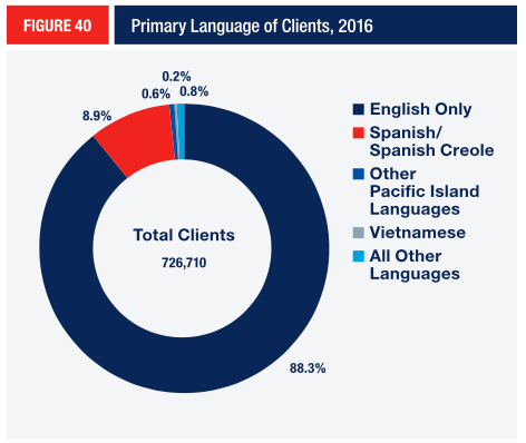 FIGURE 40 Primary Language of Clients, 2016